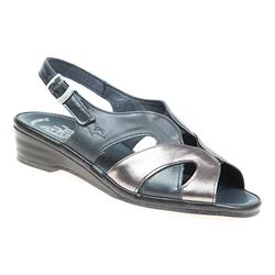 CALFLY1701 Leather Sandals in Cream Patent, Smoke - Pewter