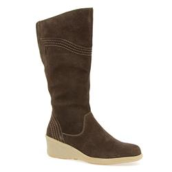 HSKEMP1405 Leather Upper Textile Lining Boots in Brown Suede