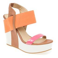 bel17011 Leather Sandals in Beige-Lime, Orange-Pink