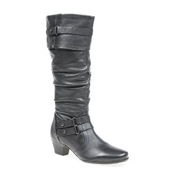 IRB1610 Leather Upper Texile Lining Boots in Black