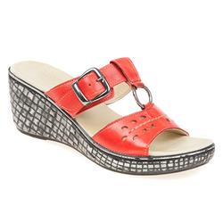 KARY1704 Leather Sandals in Red, White
