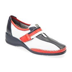 DEM1701 Leather Upper Casual Shoes in Navy - Red - White
