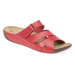 MUY1510 Leather Lining Adjustable Mules in Brown, Navy, Red, White