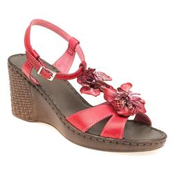 HSJEAN1702 Leather Sandals in Red, Tan