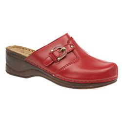MUY1502 Leather Lining Clogs in Black, Red, White