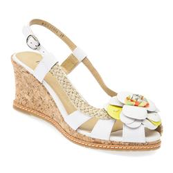 BEL17004 Leather Upper Sandals in White, Yellow