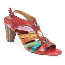 HSLV1750 Leather Sandals in Grey Multi, Red Multi