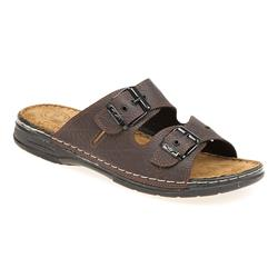 SRY1703 Leather/Textile Lining Sandals in Brown