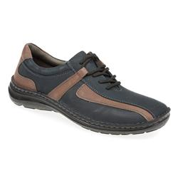 HSKEMP1505 Leather Upper Textile Lining Lace Up in Navy, Tan