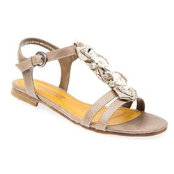 WEN28103-20 Textile Lining Sandals in Black, Taupe