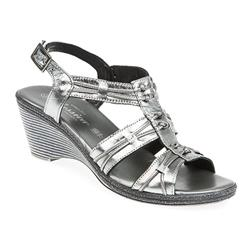 JES1706 Leather Sandals in Pewter, White