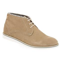 STAD1703 Leather Boots in Beige, Navy