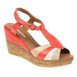 ZYN1703 Leather Sandals in Red, Tan