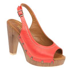 ZYN1704 Leather Sandals in Red, Tan