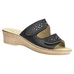 IN1711 Leather Lining Adjustable Mules in Black, Champagne