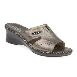ITA1700 Leather Sandals in Navy, Pewter