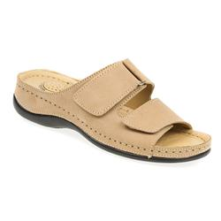 GF1751 Leather Adjustable Mules in Camel, Navy