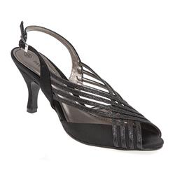AMITY1700 Textile Upper Sandals in Black-Satin, Silver-Satin
