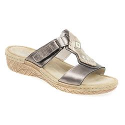 MEFLY1700 Leather Sandals in Pewter