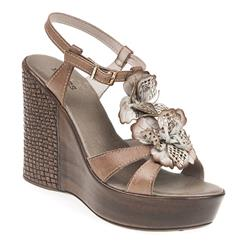HSJEAN1701 Leather Sandals in Denim, Taupe