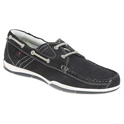TEJ1702 Leather Upper Textile Lining Lace Up in Navy