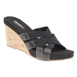 HSSKE1707 Leather/Textile Sandals in Black, Taupe
